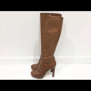 Gucci knee high light brown platform boots Sz 38.5